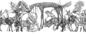 Kryptozoologie Diplom | Siebdruck nach Zeichnungen | 150 x 1000