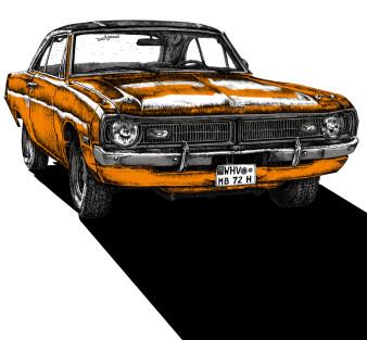 Dodge Dart | Siebdruck 3-farbig | 50 x 50