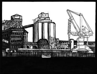 Getreidespeicher Überseestadt | Tusche | 20 x 30