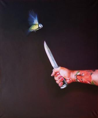 the knife|Öl auf Leinwand|120x100